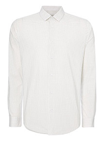 White Target Print Stretch Slim Fit Shirt