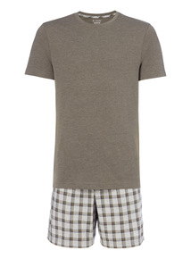 Green Tee And Check Shorts Set