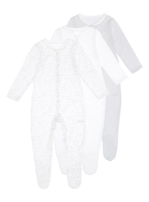 Unisex White Sleepsuits 3 Pack (0-24 months)