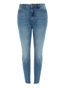 Denim Twisted Seam Straight Jeans