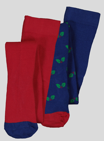 Christmas Multicoloured Supersoft Tights 2 Pack (12 months -12 Years)