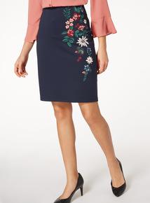 Navy Printed Pull On Skirt
