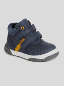 Navy Twin Strap Touch And Close Fastening Boots (4-12 Infant)