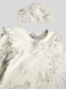 Peter Rabbit Pink Print Sleepsuit and Hat Set (Newborn - 36 months)