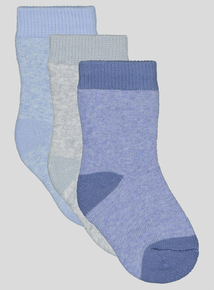 3 Pack Blue Terry Socks (1 - 24 months)