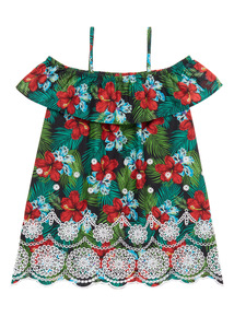 Red Tropical Woven Dress (3 - 12 years)