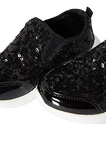 Black Sequin Slip On Trainers (6 Infant-4 Child)