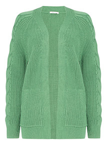 Bottle Green Kangaroo Pocket Knitted Cardigan