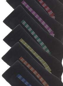 7 Pack Black Vertically Knitted Stay Fresh Socks