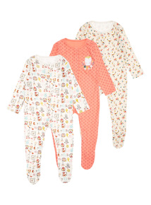 3 Pack Multicoloured Woodland Sleepsuit (0-24 months)