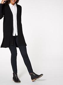 Black Ribbed Core Cardigan
