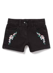 Black Embroidered Denim Shorts (3-14 years)