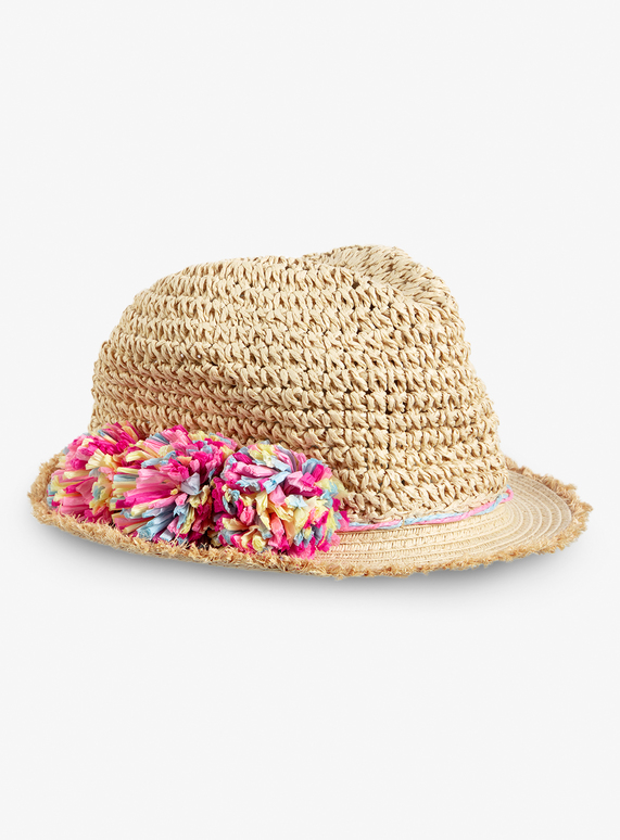 398dfea6 Kids Multicoloured Pom-Pom Crushable Straw Hat (1-13 Years) | Tu clothing