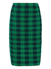 Green Dogtooth Pencil Skirt