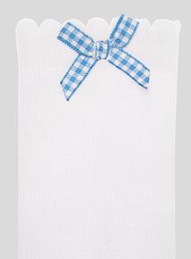 5 Pack Blue Gingham and Heart Trim Socks (6 infant-5.5 adult)
