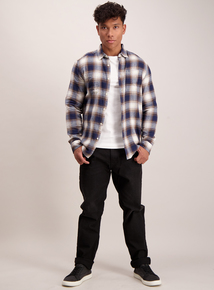 Navy Brushed Check Regular Fit Shirt