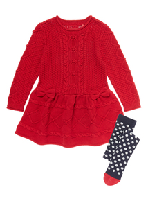 Girls Red Cable Dress With Tights (9 months - 5 years)