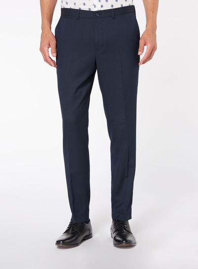 Navy Herringbone Stretch Trouser