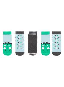Boys Green Dinosaur Socks 5 Pack (1-24 months)