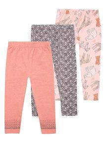 Girls Multicoloured Leggings 3 Pack (9 months-6 years)