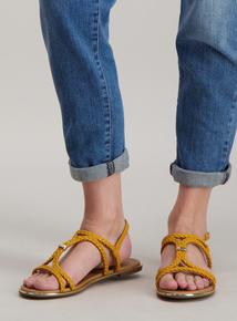 37624b46004 Yellow Plaited T-Bar Sandal