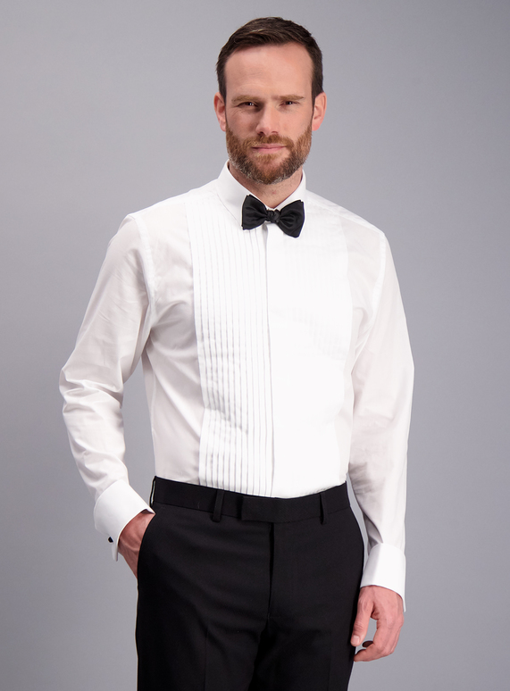 469ee2f7c5e7 Menswear White Tailored Fit Dress Shirt & Black Bow Tie Set | Tu ...