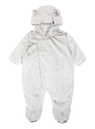ff941f11c3de Baby Boys Grey Faux-Fur Pramsuit (0-24 months)