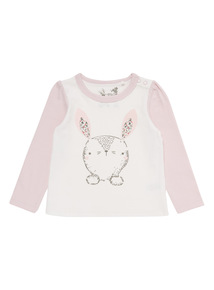 White Printed Bunny Tee (0 - 24 months)