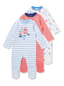 3 Pack Multicoloured London Sleepsuits (0-24 months)