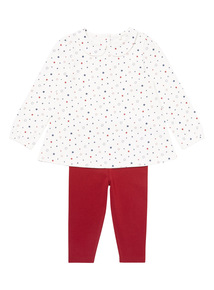 Cream Two Piece Star Top and Legging Set (0-24 months)
