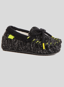 Black Neon Moccasin Slippers (6 infant - 4 child)