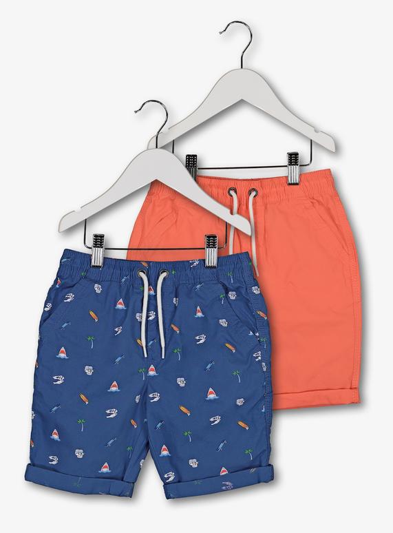 909bdd8108 Kids Blue Printed & Coral Poplin Shorts 2 Pack (3 -14 years) | Tu ...