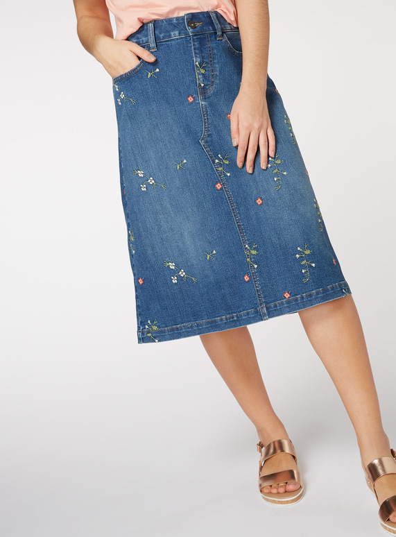 Floral Embroidered A Line Skirt
