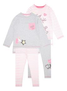 Girls Multicoloured Too Chic for Sleep Pyjamas 2 Pack (4-14 years)