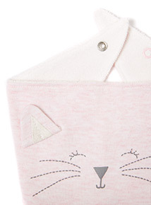 2 Pack Pink Cat and Geometric Print Bibs