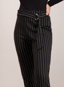 Black Stripe Ring Detail Trousers
