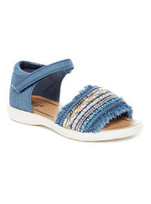 Denim Fringe Sandals