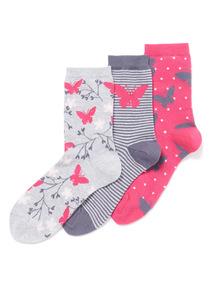 3 Pack Butterfly Socks