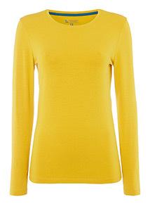 Yellow Long Sleeve Plain Top