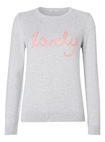'Lovely' Slogan Jumper