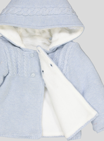 Light Blue Cable Knit Hooded Cardigan (Newborn- 12 months)
