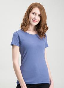 ea74113e330b2 Blue Plain Crew Neck T-Shirt