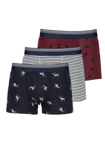 Multicoloured Cotton With Stretch Trunks 3 Pack