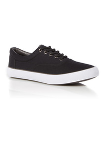 Black Canvas Lace Up Shoes
