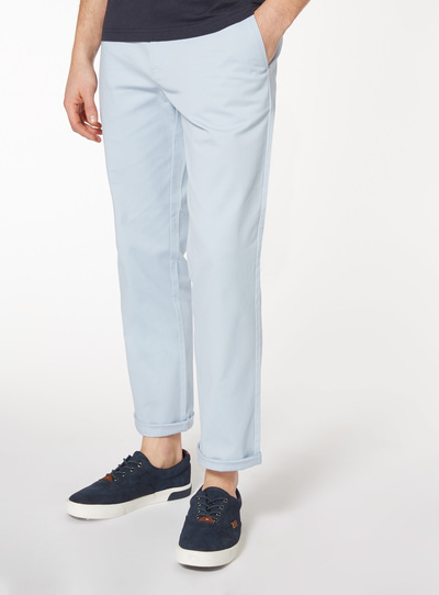 Online Exclusive Summer Blue Straight Fit Chinos With Stretch