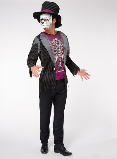 Adults Black Halloween Skeleton Tuxedo Costume