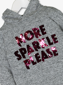 Grey Sequinned Slogan Hooded Top (3-14 years)