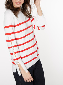 Red And White Stripe Bow Sleeve Jumper