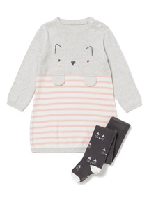 Grey Cat Knitted Dress and Tights Set (0-24 months)