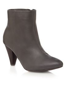 Grey Cone Heel Ankle Boots